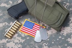 US ARMY concept with handgun Royalty Free Stock Photography