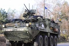 Us army convoy, 27.3.2016, Czech Republic, crossing to Poland from Old Boleslav, Stock Image
