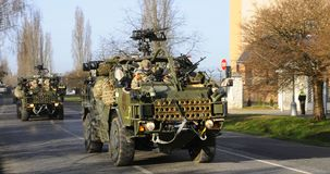 Us army convoy, 27.3.2016, Czech Republic, crossing to Poland from Old Boleslav, Stock Photo