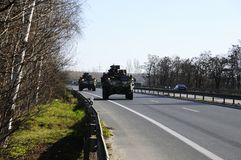 Us army convoy, 27.3.2016, Czech Republic, crossing to Poland from Old Boleslav, Stock Photos