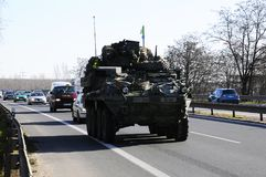 Us army convoy, 27.3.2016, Czech Republic, crossing to Poland from Old Boleslav, Royalty Free Stock Photo