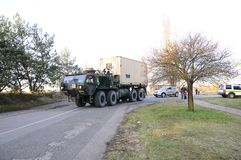 Us army convoy, 27.3.2016, Czech Republic, crossing to Poland from Old Boleslav, Royalty Free Stock Photos