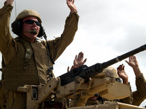 US army crew on tank. US army demonstration MCAS Miramar October, 5th 2008 Stock Photo