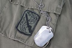 Us army dog tags. With uniform Royalty Free Stock Image