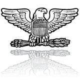 US Army eagle insignia. Doodle style military rank insignia for US Army including Eagle with sheaf of wheat Stock Image