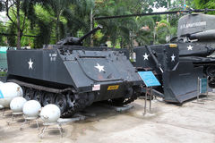 US Army Flame Thrower and Bulldozer on display at Vietnamese mus Royalty Free Stock Photos