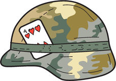 US Army Helmet 4 of Hearts Playing Card Drawing. Drawing sketch style illustration of a Us Army Kevlar combat helmet with camouflage cloth cover and four of royalty free illustration