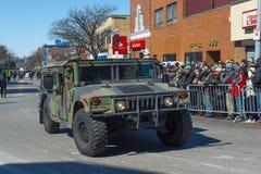 US Army Humvee in Saint Patrick`s Day parade Boston, USA. BOSTON, USA - Mar. 18, 2018: US Army Humvee in Saint Patrick`s Day Parade in Boston, Massachusetts, USA royalty free stock image