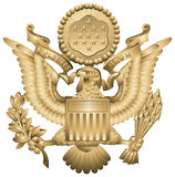 US Army Insignia. US Army Officers Hat Insignia, United States military symbol,  drawing from the World War II Peaked cap, eagle Stock Images