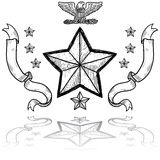 US Army Insignia with Wreath. Doodle style military rank insignia for US Army including star and wreath Royalty Free Stock Photography