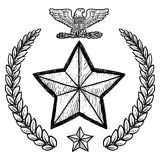 US Army insignia with wreath. Doodle style military rank insignia for US Army including star and wreath Stock Photos