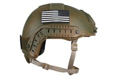 US army kevlar helmet with infrared tab - US flag. Isolated on white stock photo