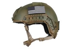 US army kevlar helmet with infrared tab - US flag. Isolated on white stock image