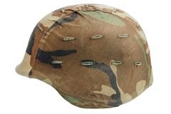 Us army kevlar helmet. Isolated on white Royalty Free Stock Photo