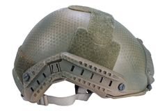 Us army kevlar helmet with night vision mount isolated. On white Stock Photo