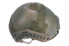 Us army kevlar helmet with night vision mount isolated. On white Stock Photography