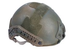 Us army kevlar helmet with night vision mount isolated. On white Royalty Free Stock Images