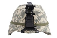 Us army kevlar helmet with night vision mount. Isolated on white Royalty Free Stock Photography