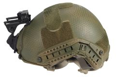 Us army kevlar helmet with night vision mount. Isolated on white Stock Photos