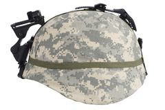 Us army kevlar helmet with night vision mount. Isolated on white Stock Photography