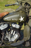 US Army motorcycle. Detail of a restored Classic historic WWII military motorcycle at a military event on Liberation day in The Netherlands Royalty Free Stock Images