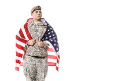 US Army Ranger with american flag Stock Image