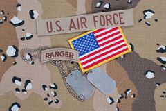 US ARMY ranger tab with blank dog tag Royalty Free Stock Photos