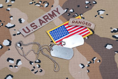 US ARMY ranger tab with blank dog tags Stock Image
