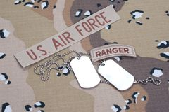 US ARMY ranger tab with blank dog tags Stock Photography