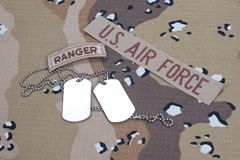US ARMY ranger tab with blank dog tags Royalty Free Stock Photography