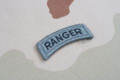US ARMY ranger tab on camouflage uniform Royalty Free Stock Photos