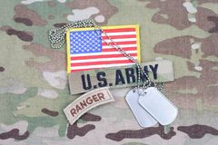US ARMY ranger tab, flag patch, with dog tag Royalty Free Stock Photo