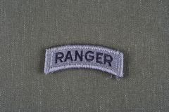 US ARMY ranger tab on olive green uniform Royalty Free Stock Photos