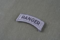 US ARMY ranger tab on olive green uniform Royalty Free Stock Image