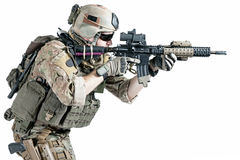US army ranger. United States Army ranger with assault rifle Royalty Free Stock Images