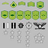US Army rank insignia. A complete set of US Army rank insignia including officers and enlisted bars, stars, and chevrons in vector Royalty Free Stock Image