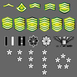 US Army rank insignia. A complete set of US Army rank insignia including officers and enlisted bars, stars, and chevrons in vector with fabric texture Royalty Free Stock Images
