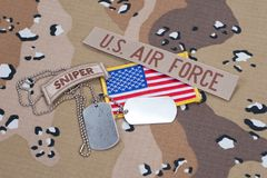 US ARMY sniper tab with blank dog tags Stock Photo