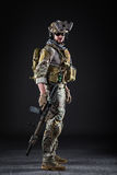 US Army Soldier on Dark Background royalty free stock image