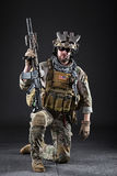 US Army Soldier on Dark Background stock image