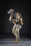 US Army Soldier on Dark Background royalty free stock photography