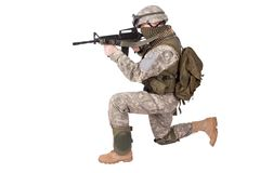 US ARMY soldier with m4 carbine Royalty Free Stock Image