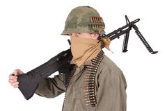 Us army soldier with m60 machine gun vietnam war period. Isolated on white Stock Images