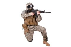 US ARMY soldier with m4 rifle Royalty Free Stock Images