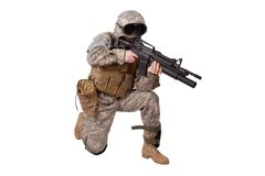 US ARMY soldier with m4 rifle royalty free stock photography