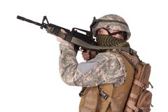 US ARMY soldier with m4 rifle Stock Photo