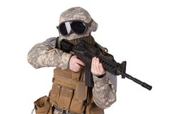 US ARMY soldier with m4 rifle Stock Images