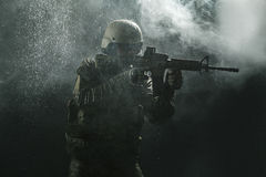US Army soldier in the rain Royalty Free Stock Photos