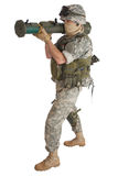 US ARMY soldier with AT rocket launcher Stock Images