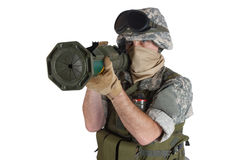 US ARMY soldier with AT rocket launcher Royalty Free Stock Photography